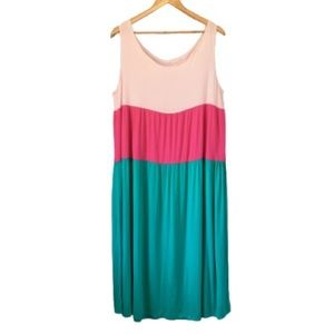 2X Maxi Tank Dress Pink & Teal Green Colour Block